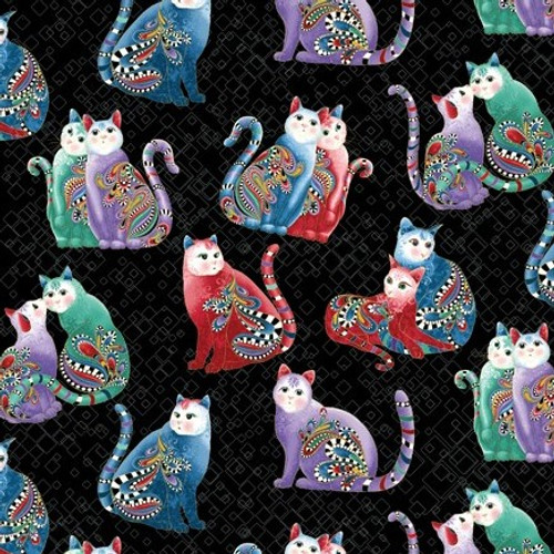 Benartex Cat-I-tude Two PurrFect Together Square Pattern Paisley Cats  Black Metallic 100% Cotton (Cat-I-tude Two 3)