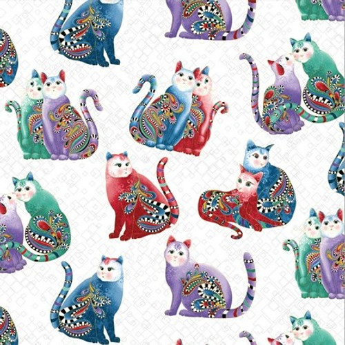 Benartex Cat-I-tude Two PurrFect Together Square Pattern Paisley Cats White Metallic 100% Cotton (Cat-I-tude Two 4)