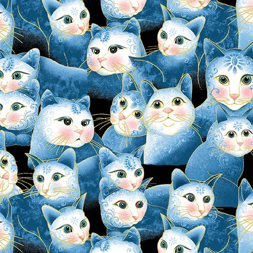 Benartex Cat-I-tude Two PurrFect Together Packed Cats Blue Metallic 100% Cotton (Cat-I-tude Two 5)