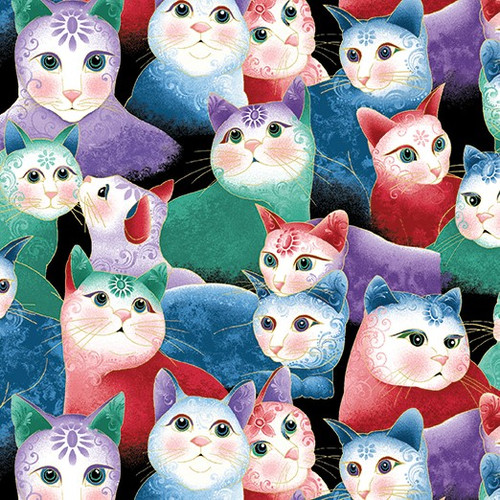 Benartex Cat-I-tude Two PurrFect Together Packed Cats Multi coloured Metallic 100% Cotton (Cat-I-tude Two 6)
