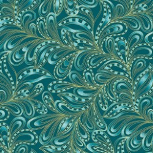 Benartex Cat-I-tude Christmas Feather Paisley Teal Metallic 100% Cotton Remnant (59 x 112cm Cat-I-tude Christmas 13)