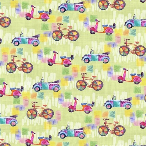 Studio e's Color My World Funky Transport Bikes Scooters Cars Green 100% Cotton (SE Color My World 7)