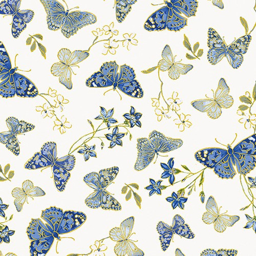 Kanvas Studio Blue Symphony Delicate Butterflies With Metallic Accents Cream 100% Cotton (KS Blue Symphony 2)