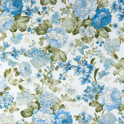 Kanvas Studio Blue Symphony Large Blue Floral With Metallic Accents Cream 100% Cotton (KS Blue Symphony 3)