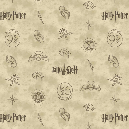Universal Studios Wizarding World Harry Potter Symbols in Dark Cream 100% Cotton (Harry Potter 13)