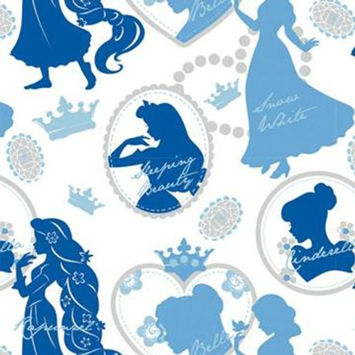 Disney Princesses Silhouette White Blue 100% Cotton (Disney Princesses 18)