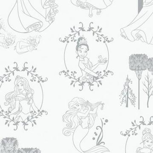 Disney Princesses Toile Stone Grey White 100% Cotton (Disney Princesses 20)