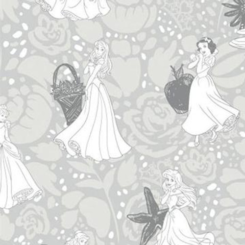 Disney Princesses Line Drawing Grey 100% Cotton (Disney Princesses 22)