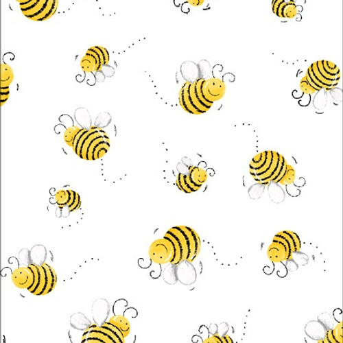 World Of Susybee Happy Bees White 100% Cotton (Susybee 3)