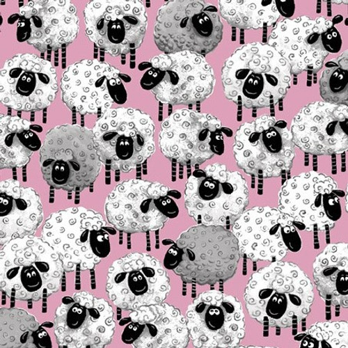 World Of Susybee Lal The Lamb Allover Sheep Pink 100% Cotton (Susybee 5)
