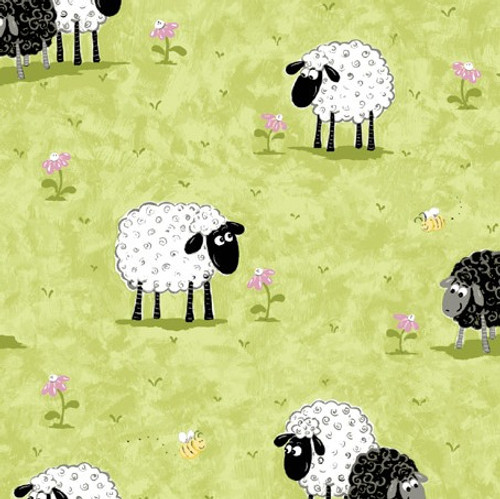 World Of Susybee Lal The Lamb In Meadow Kiwi Green 100% Cotton (Susybee 10)