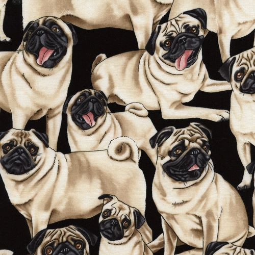 Timeless Treasures Pug Dogs 100% Cotton Remnant (65 x 112cm TT Pugs)