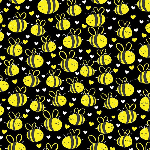 Timeless Treasures What's The Buzz Bees Black 100% Cotton (TT Happy Bees Black)