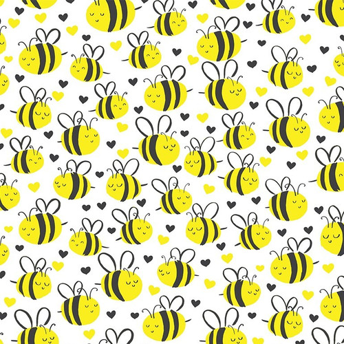 Timeless Treasures What's The Buzz Bees White 100% Cotton (TT Happy Bees White)