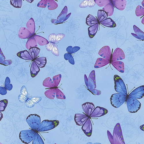 Timeless Treasures Pansy Paradise Butterflies With Etched Pansies Blue 100% Cotton (TT Butterflies Blue)