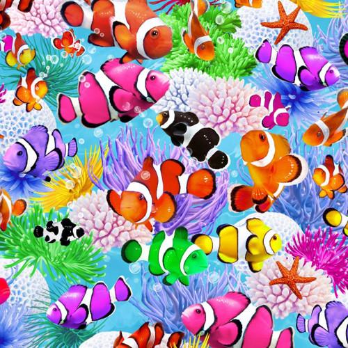 Timeless Treasures Aquarium Clown Fish Bright Multicoloured 100% Cotton (TT Funky Fish)
