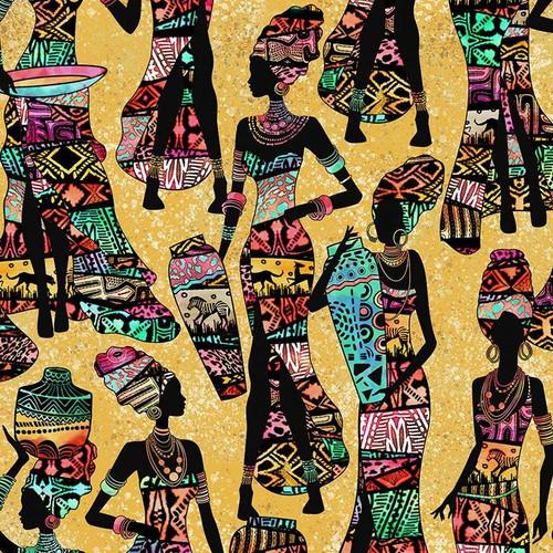 Timeless Treasures African Sunset Women Sand 100% Cotton (TT African Sunset)