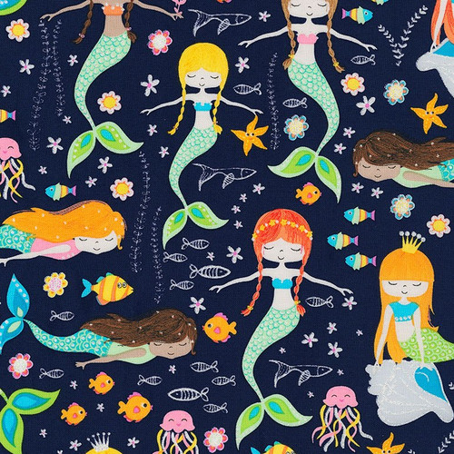Timeless Treasures Glitter Mermaids Navy Blue 100% Cotton (TT Glitter Mermaids Navy)