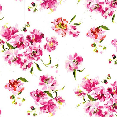 Beautiful Bright Pink Blossom Floral White 100% Cotton Remnant (53 x 147cm Spring Dreams)