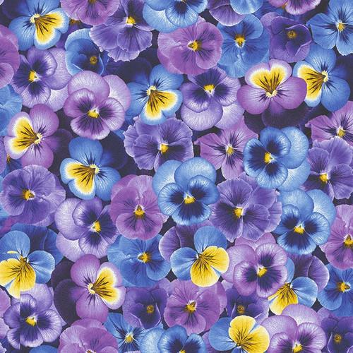 Timeless Treasures Pansy Paradise Pansies Purple 100% Cotton (TT Packed Pansies)