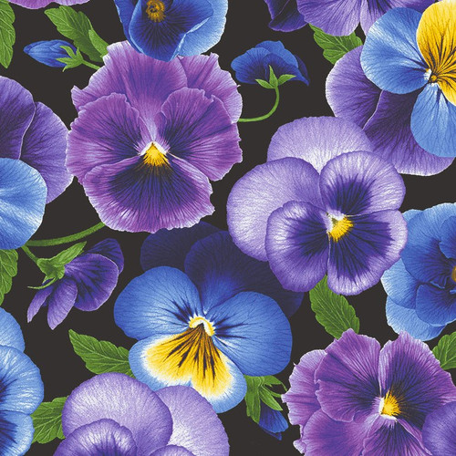 Timeless Treasures Pansy Paradise Pansies Black 100% Cotton (TT Pansies On Black)