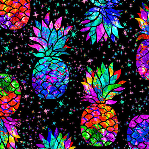 Timeless Treasures Midnight Tropical Rainbow Pineapples & Stars Black 100% Cotton (TT Rainbow Pineapples)