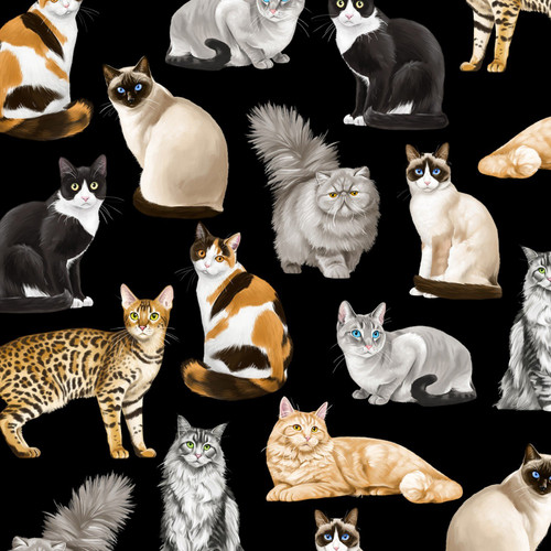 Timeless Treasures Assorted Majestic Cats Black 100% Cotton (TT Cats)