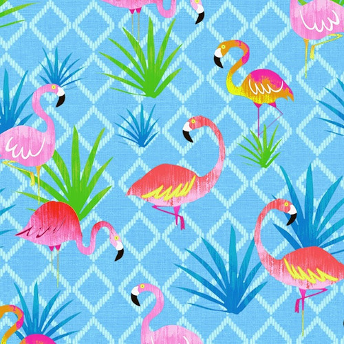 Timeless Treasures Summer Vibes Tropical Flamingos Blue 100% Cotton (TT Summer Vibes Flamingo)