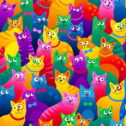 Timeless Treasures Packed Rainbow Cartoon Cats 100% Cotton (TT Rainbow Cats)
