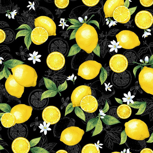 Timeless Treasures Splash Of Lemon Medium Etched Lemons Black 100% Cotton (TT Lemons)
