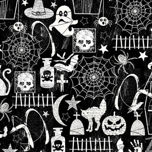 Timeless Treasures Halloween Motifs Black Glow In The Dark 100% Cotton (TT Halloween)