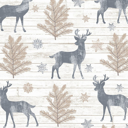 Timeless Treasures Snow Is Falling Reindeer & Snowflakes Cream 100% Cotton (TT Rustic Reindeer)