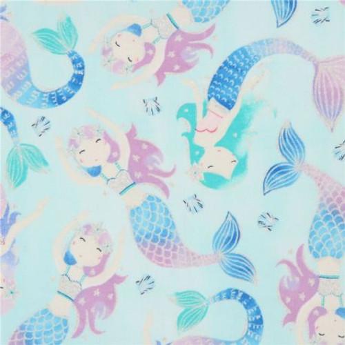 Timeless Treasures Glitter Mermaids Light Blue 100% Cotton (TT Light Blue Glitter Mermaids)