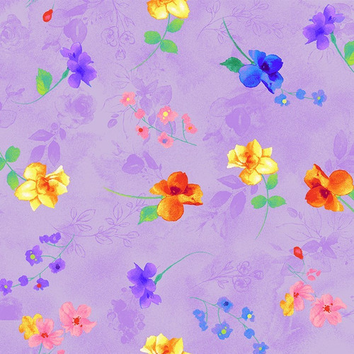 Timeless Treasures Rain Blossom Floating Flowers Purple 100% Cotton (TT Floating Flowers Purple)