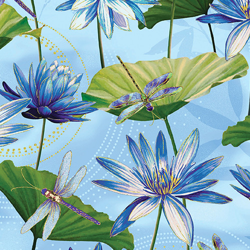 Kanvas Studio Dragonfly Dance Waterlily Light Blue 100% Cotton Remnant (49 x 112cm KS Studio Dragonfly Dance 23)