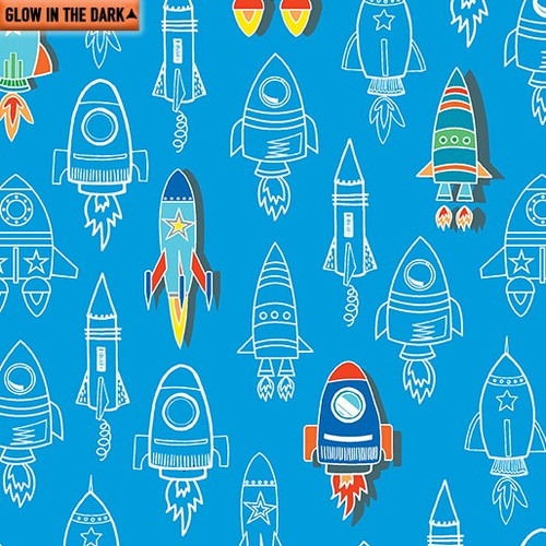 Kanvas Studio All Systems Glow Rocket Launch Royal Blue GLOW IN THE DARK 100% Cotton (KS All Systems Glow 1)