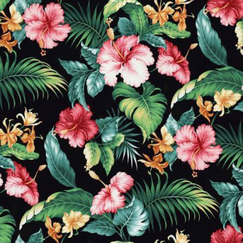 Springs Creative Tropical Treats Hibiscus Floral Black 100% Cotton (SC Hibiscus)