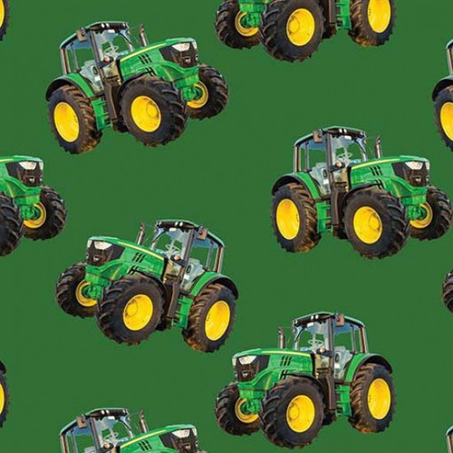 Farm Machines Tractors Tossed Green 100% Cotton (Farm Machines 1)
