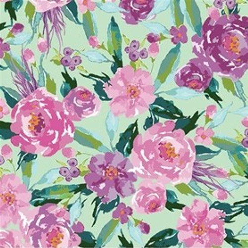 Riley Blake Hampton Garden Floral Mint 100% Cotton (RB Hampton Garden 2)