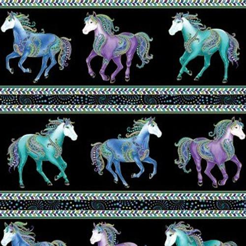 Benartex Horsen Around Galloping Horses Stripe Metallic Black 100% Cotton (Horsen Around 7)