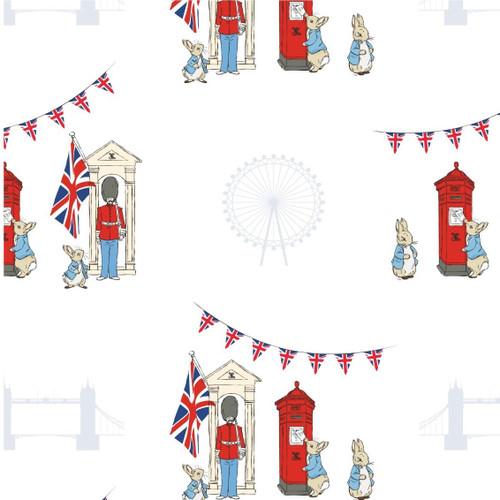 Frederick Warne & Co Peter Rabbit London Icons White 100% Cotton (Peter Rabbit 12)