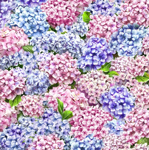 Timeless Treasures Peaceful Garden Packed Hydrangeas Pink Blue 100% Cotton Remnant (44 x 112cm TT Hydrangeas)