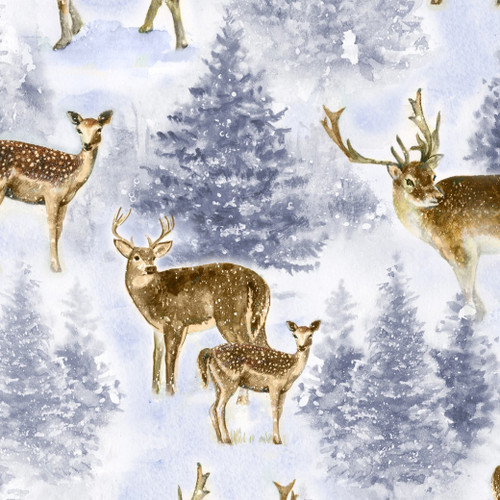 Timeless Treasures Winter Hike Reindeer Blue 100% Cotton Remnant (70 x 112cm TT Winter Reindeer)