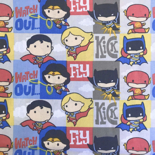 Eugene Textiles Justice League Superheroes In Action Squares Multicoloured 100% Cotton Remnant (59 x 110cm Heroes 2)