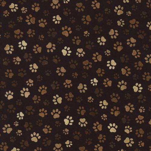 Timeless Treasures Muddy Paw Prints Brown 100% Cotton (TT Muddy Paws)