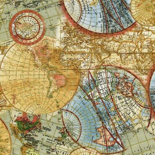 Timeless Treasures Library Atlas Globe World Map Metallic 100% Cotton (TT Globe)