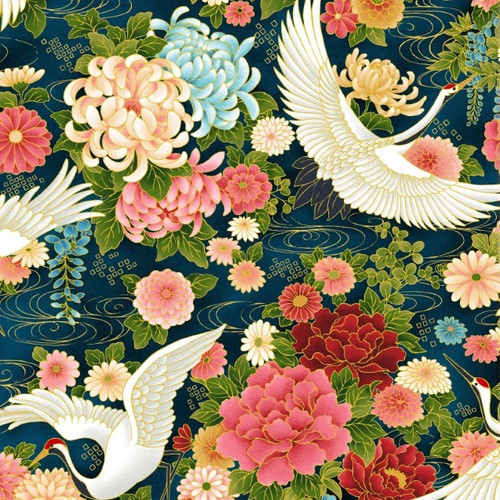 Oasis Fabrics Wind Song Cranes In Flight Metallic Blue 100% Cotton (OF Wind Song 4)