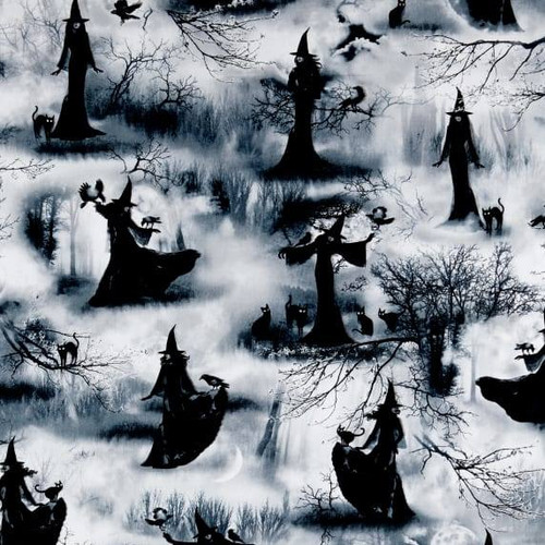 Timeless Treasures Wicked Fog Grey Spooky Witches 100% Cotton Remnant (29 x 112cm TT Witches)
