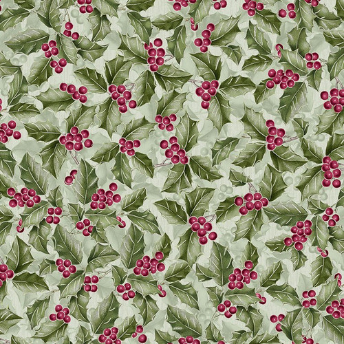 Timeless Treasures Noel Metallic Christmas Holly Green 100% Cotton Remnant (70 x 112cm TT Holly)