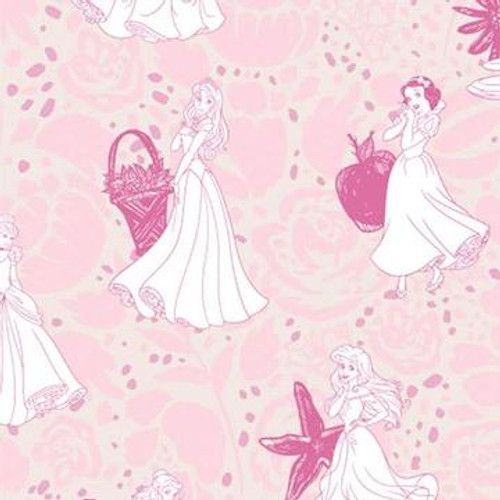 Disney Princesses Line Drawing Pink 100% Cotton Remnant (60 x 110cm Disney Princesses 21)